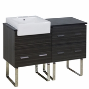 48-in. W Floor Mount Dawn Grey Vanity Set For 3H8-in. Drilling Black Galaxy Top