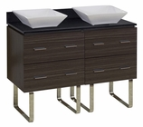 American Imaginations 48-in. W Floor Mount Dawn Grey Vanity Set For Wall Mount Drilling Black Galaxy Top