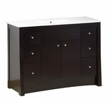 American Imaginations 48-in. W Floor Mount Distressed Antique Walnut Vanity Set For 3H8-in. Drilling