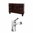 American Imaginations 48-in. W Floor Mount Walnut Vanity Set For 1 Hole Drilling