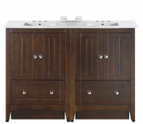 American Imaginations 48-in. W Floor Mount Walnut Vanity Set For 3H4-in. Drilling