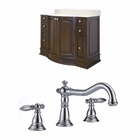 American Imaginations 48-in. W Floor Mount Walnut Vanity Set For 3H8-in. Drilling