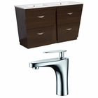American Imaginations 48-in. W Floor Mount Wenge Vanity Set For 1 Hole Drilling
