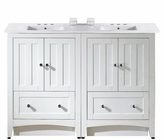 48-in. W Floor Mount White Vanity Set For 3H4-in. Drilling