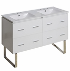 American Imaginations 48-in. W Floor Mount White Vanity Set For 3H8-in. Drilling
