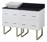 48-in. W Floor Mount White Vanity Set For Deck Mount Drilling Black Galaxy Top