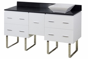 American Imaginations 48-in. W Floor Mount White Vanity Set For Deck Mount Drilling Black Galaxy Top