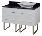 American Imaginations 48-in. W Floor Mount White Vanity Set For Wall Mount Drilling Black Galaxy Top