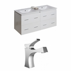 American Imaginations 48-in. W Wall Mount White Vanity Set For 1 Hole Drilling