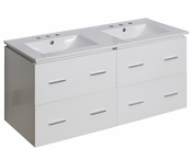 American Imaginations 48-in. W Wall Mount White Vanity Set For 3H8-in. Drilling
