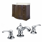 American Imaginations 49.6-in. W Floor Mount Walnut Vanity Set For 3H8-in. Drilling
