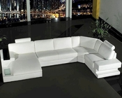 4pc White Leather Sectional Sofa Set 44L0557