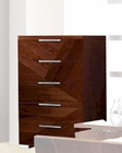 5 Drawer Chest in High Gloss Walnut Finish 33B167