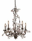 ELK 5 Light Chandelier in Deep Rust and Crystal Droplets EK-8054-5