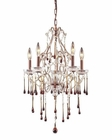 ELK 5 Light Chandelier in Rust  and Amber Crystal EK-4012-5AMB