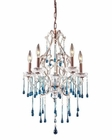 ELK 5 Light Chandelier in Rust and Aqua Crystal EK-4012-5AQ