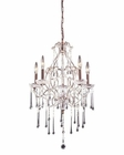 ELK 5 Light Chandelier in Rust and Clear Crystal EK-4012-5CL