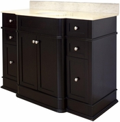 50-in. W Floor Mount Dark Mahogany Vanity Set For 3H8-in. Drilling Beige Top White UM Sink