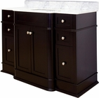 American Imaginations 50-in. W Floor Mount Dark Mahogany Vanity Set For 3H8-in. Drilling Bianca Carara Top White UM Sink