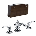 American Imaginations 53-in. W Floor Mount Wenge Vanity Set For 3H8-in. Drilling