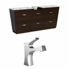 American Imaginations 56-in. W Floor Mount Wenge Vanity Set For 1 Hole Drilling