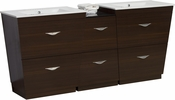 American Imaginations 56-in. W Floor Mount Wenge Vanity Set For 3H4-in. Drilling
