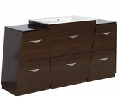 American Imaginations 56-in. W Floor Mount Wenge Vanity Set For 3H8-in. Drilling
