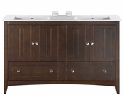 American Imaginations 59-in. W Floor Mount Walnut Vanity Set For 1 Hole Drilling