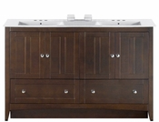 American Imaginations 59-in. W Floor Mount Walnut Vanity Set For 3H4-in. Drilling