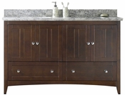 59-in. W Floor Mount Walnut Vanity Set For 3H4-in. Drilling Bianca Carara Top Biscuit UM Sink
