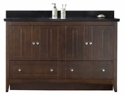 American Imaginations 59-in. W Floor Mount Walnut Vanity Set For 3H4-in. Drilling Black Galaxy Top White UM Sink