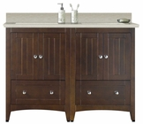 American Imaginations 59-in. W Floor Mount Walnut Vanity Set For 3H8-in. Drilling Beige Top Biscuit UM Sink