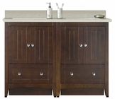 American Imaginations 59-in. W Floor Mount Walnut Vanity Set For 3H8-in. Drilling Beige Top White UM Sink