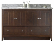 59-in. W Floor Mount Walnut Vanity Set For 3H8-in. Drilling Bianca Carara Top Biscuit UM Sink