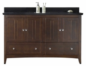 American Imaginations 59-in. W Floor Mount Walnut Vanity Set For 3H8-in. Drilling Black Galaxy Top White UM Sink