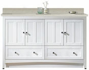 American Imaginations 59-in. W Floor Mount White Vanity Set For 1 Hole Drilling Beige Top Biscuit UM Sink