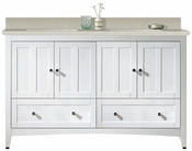 59-in. W Floor Mount White Vanity Set For 1 Hole Drilling Beige Top White UM Sink