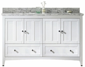 59-in. W Floor Mount White Vanity Set For 1 Hole Drilling Bianca Carara Top Biscuit UM Sink