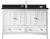 American Imaginations 59-in. W Floor Mount White Vanity Set For 1 Hole Drilling Black Galaxy Top Biscuit UM Sink