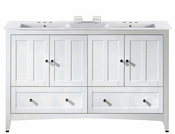 American Imaginations 59-in. W Floor Mount White Vanity Set For 3H4-in. Drilling