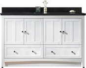 59-in. W Floor Mount White Vanity Set For 3H4-in. Drilling Black Galaxy Top White UM Sink