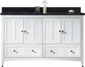 American Imaginations 59-in. W Floor Mount White Vanity Set For 3H4-in. Drilling Black Galaxy Top White UM Sink