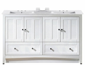 American Imaginations 59-in. W Floor Mount White Vanity Set For 3H8-in. Drilling