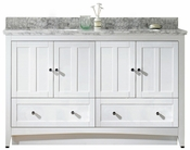 59-in. W Floor Mount White Vanity Set For 3H8-in. Drilling Bianca Carara Top Biscuit UM Sink