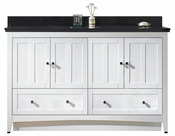 American Imaginations 59-in. W Floor Mount White Vanity Set For 3H8-in. Drilling Black Galaxy Top Biscuit UM Sink