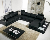 5pc Black Leather Sectional Sofa Set  44LT35BLKHL