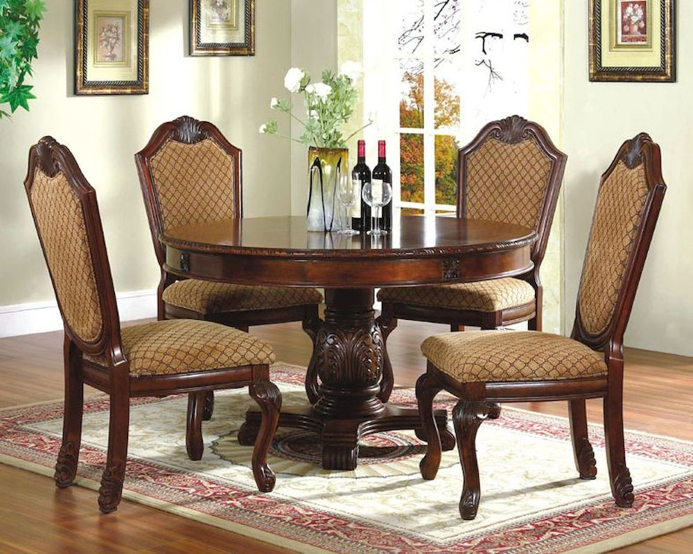 5pc dining room set with round table in classic cherry for Round dining room table sets