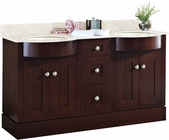 American Imaginations 60-in. W Floor Mount Coffee Vanity Set For 1 Hole Drilling Beige Top Biscuit UM Sink