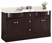 American Imaginations 60-in. W Floor Mount Coffee Vanity Set For 1 Hole Drilling Beige Top White UM Sink