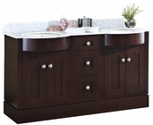 American Imaginations 60-in. W Floor Mount Coffee Vanity Set For 1 Hole Drilling Bianca Carara Top Biscuit UM Sink